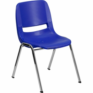 Navy Plastic Stack Chair Blue - RUT-16-NVY-CHR-GG by Flash Furniture