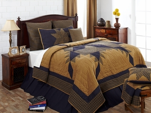 "Navy Star Solid Navy Bedskirt King 78"" x 80"" x 16"" by VHC Brands"