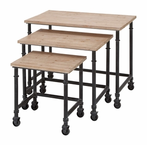 Metal Wood Nest Table Set/3 Accent Collection - 66776 by Benzara