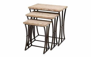 "Metal Wood Nesting Table Set/3 26"",22"",19""H Accent Collection - 34848 by Benzara"