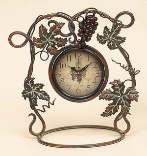 New Merlot Wine Metal Table Desk Clock  by Benzara