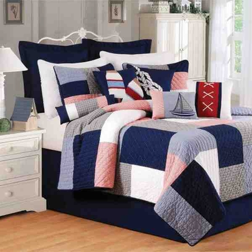 buy newport pier coastal nautical quilt luxury queen bedding size 90 inch x 92 inch at. Black Bedroom Furniture Sets. Home Design Ideas