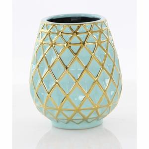 Nifty Ceramic Vase Turquoise And Golden - 92073 by Benzara