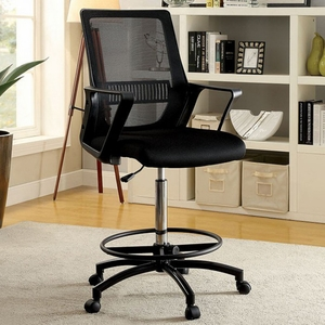 Noely Contemporary Office Chair, Black & Chrome Finish