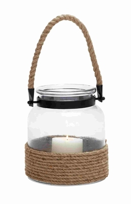23825 Contemporary Designed Glass And Rope Metal Lantern With Rope Handle - 23825 by Benzara