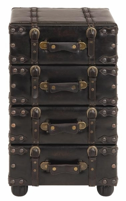 WOOD LEATHER SIDE CHEST WITH DARK BROWN TONE - 74477 by Benzara