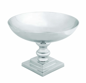 Contemporary Aluminum Bowl With Curvy Bottom And Silvery Shine - 30874 by Benzara