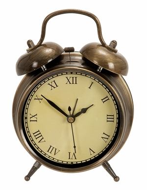 Old Time Table Clock In Antiqued Brass With Two Chimes  - 72791 by Benzara