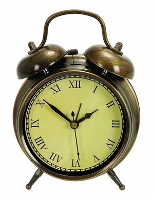 Old Time Table Clock In Antiqued Brass With Two Chimes Brand Woodland