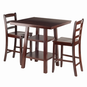 Orlando 3-Pc Set High Table, 2 Shelves w/ 2 Ladder Back Stools - 94312 by Winsome Wood