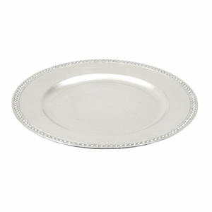 Beaded Charger Plate Silver - Set of 24 - 62655 by Benzara