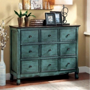 Orofino Vintage Style Accent Chest, Green And Brown