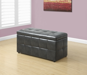 "OTTOMAN - 38""L / STORAGE / CHARCOAL GREY LEATHER-LOOK"