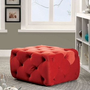 Sonja Contemporary Style Ottoman, Red Finish