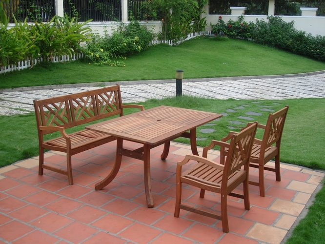 Vifah Vfh V187set1 Outdoor Eucalyptus Dining Set With Bench 2 Chairs And Table By Vifah