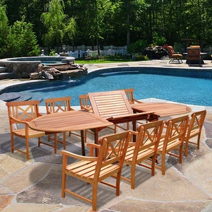 Oval Extension Table & Wood Arm ChairOutdoor Dining Set 18