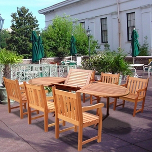 Oval Extension Table & Wood Arm ChairOutdoor Dining Set 21