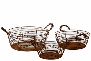 Oval Shaped Elegantly Wired Metal Basket Set of Three Attached w/ Two Side Handle Each in Rustic Brown