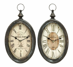 Oval Shape Sophisticated Assorted Metal Wall Clock - Set Of 2 - 52520 by Benzara