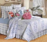 Oversized Twin Quilt - Blue Veranda Style Bedding, 66 inch x