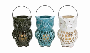 Ceramic Owl Shaped Blue Lantern with Stunning Modern Style - 38870 by Benzara