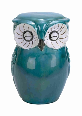 Long Lasting Ceramic Owl Shaped Stool with Sturdy Construction - 38872 by Benzara