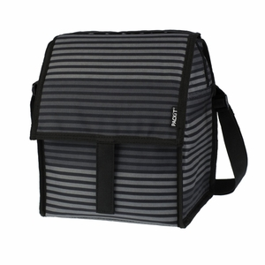 PackIt Freezable Deluxe Large Lunch Bag with Shoulder Strap, Gray Stripe - 15191 by PackIt