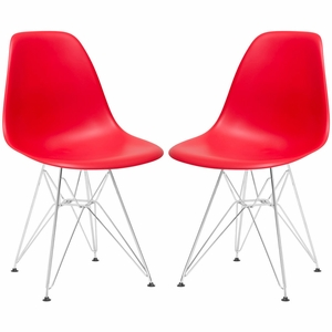 Padget Side Chair in Red (Set of 2)