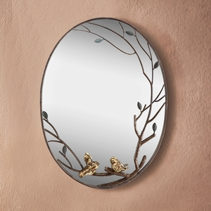 Pair of Birds on Branch Oval Shaped Decorative Wall Mirror by SPI-HOME