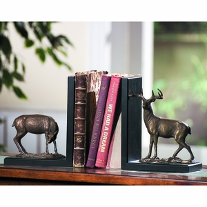 Pair of Bookends with Deer Figurine in Antiquated Brass by SPI-HOME