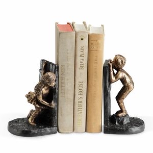Pair of Boy and Girl Playing Hide-and-Seek Bookends by SPI-HOME