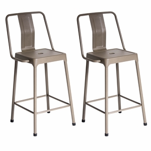 Pair of Industrial Style Energy Counter Stools in Cappuccino Finish by LumiSource
