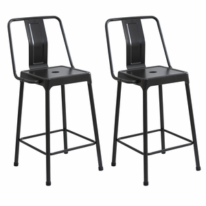 Pair of Industrial Style Energy Counter Stools in Carbon Black Finish by LumiSource