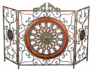 Metal Fire Screen A Stylish Fire Place Protection - 21871 by Benzara