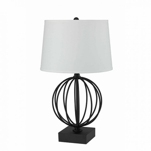 PAM Contemporary Table Lamp, Metal Black Base And White Shade