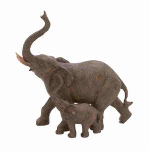 Trumpeting Mother and Baby African Elephant Poly Stone Statue - 44724 by Benzara