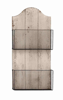 Two Wire Mesh Wall Basket with White Finish MDF Plaque - 50985 by Benzara