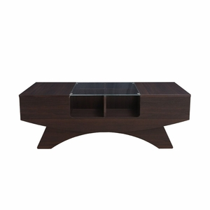 Paxxil Espresso Glass Top Contemporary Coffee Table