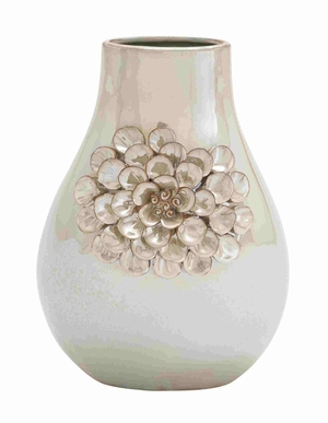 Elegant Pear Shaped Ceramic Vase with Floral Design - 62152 by Benzara