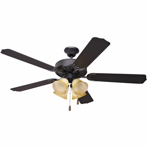"""Perfectly Styled 52"""" Venetian Bronze frame Ceiling Fan with Amber shade Light by Yosemite Home Decor"""