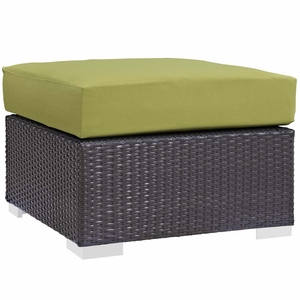 Peridot Convene Outdoor Patio Fabric Square Ottoman