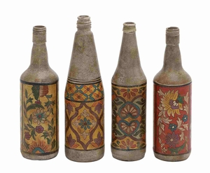 Terracotta Bottles Set Of Four With Beautiful Floral Hand Paintings - 27955 by Benzara