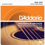Phosphor Bronze Acoustic Guitar Strings Extra Light .010-.047 EJ15 by D'Addario