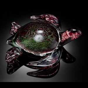 Pink Art Glass decor Swimming Sea Turtle by SPI-HOME