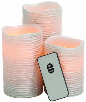 Pinkish Styled Led Wax Candle Remote Set - 68621 by Benzara
