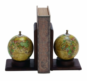 Contemporary Wooden And Metal Globe Bookend With Simple Design - 38119 by Benzara