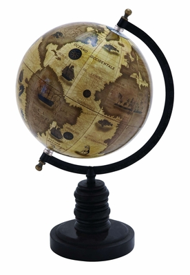 Contemporary Wooden And Metal Globe With Metallic Black Finish - 38116 by Benzara