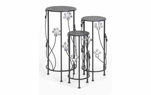 Metal Plant Stand Set/3 Patio Accents - 63345 by Benzara