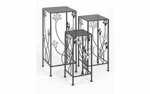 63344 Metal Plant Stand Set/3 Patio Accents - 63344 by Benzara