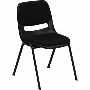 Plastic Stack Chair Black - RUT-EO1-01-PAD-GG by Flash Furniture